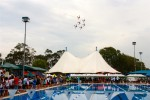 RAAF Roulettes precision flying display graced the skys over the Aqua Energy - Lex Glover Swimming Complex at the Victorian Country Swimming Championships in Sale on Australia Day weekend.